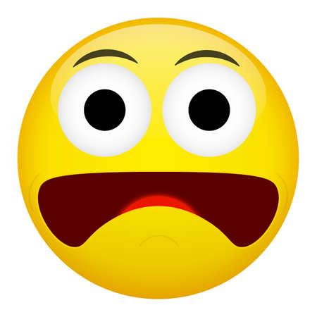 amazement: Fear and surprise emotion. Emoji vector illustration. Illustration