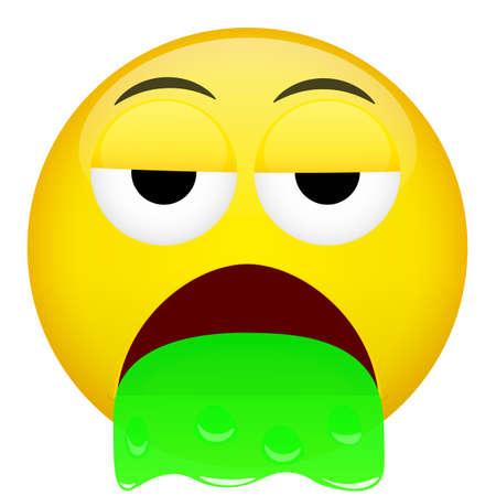 Emoji. Barf spew emoticon. Bad emotion vector illustration. Illustration