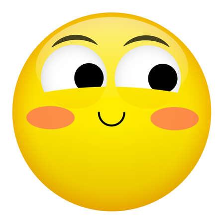 Embarrassment, confusion, smile, laugh emotion. Emoji vector illustration.