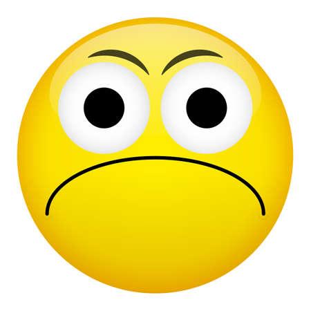 spiteful: Frustration confusion frown criminal evil emotion. Bad emoticon vector illustration.