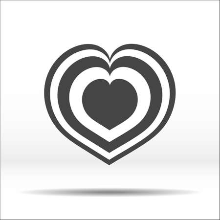 stratified: Laminated grey heart. White-black vector illustration and icon.