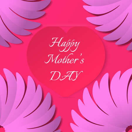 realictic: Red paper heart with congratulations Happy Mothers DAY inserted in the notch of the paper sheet  with flowers. Vector illustration background.