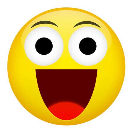 physiognomy: Broad smile laugh emotion. Emoji vector illustration.