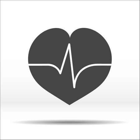 throb: Grey heart with pulse cardiogram on it. White-black vector illustration and icon. Illustration