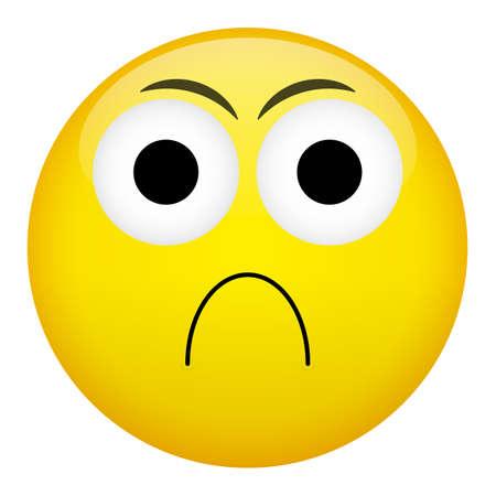 frown: Frustration confusion frown criminal evil emotion. Bad emoticon vector illustration.