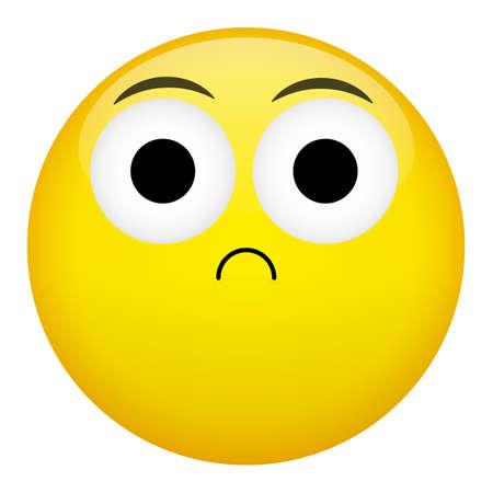 confusion: Frustration, confusion emotion. Bad emoticon vector illustration.