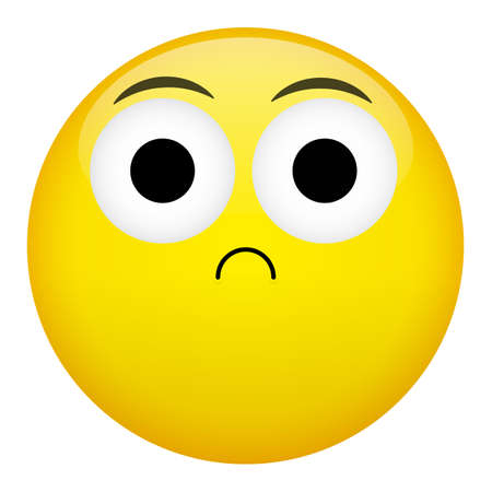 indignation: Frustration, confusion emotion. Bad emoticon vector illustration.