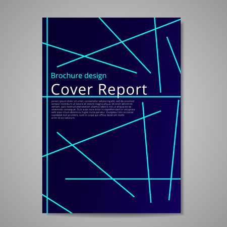 Vector flyer brochure design geometric template abstract. Technical style. Blue lines on a dark blue gradient background. Иллюстрация