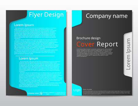 Vector flyer brochure design geometric template abstract. Material style. Black blue color.