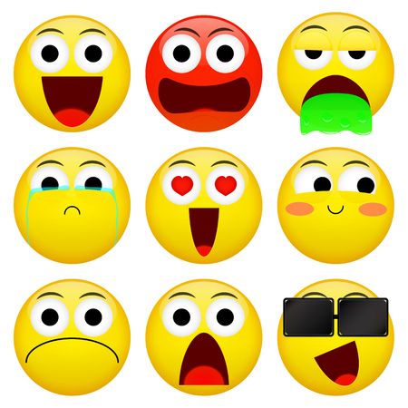 Emoji smile emoticon pack. Smile, angry, barf, crying, love, embarrassment, not good, shock, sunglasses emotion. Vector illustration.