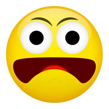 frown: Fear surprise frown criminal evil emotion. Emoji vector illustration. Illustration