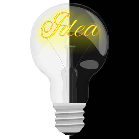 glower: Idea glower text inside the light bulb on dark black background. Vector illustration.