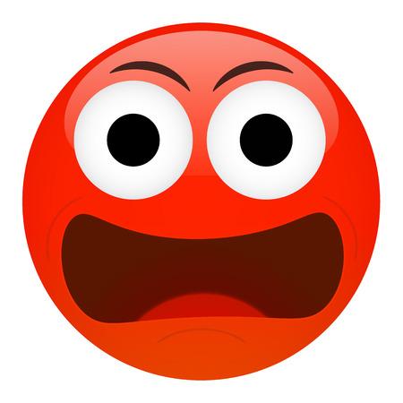 Angry, frustration, confusion emoticon. Bad emotion vector illustration.