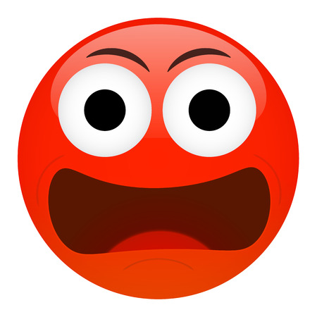indignation: Angry, frustration, confusion emoticon. Bad emotion vector illustration.