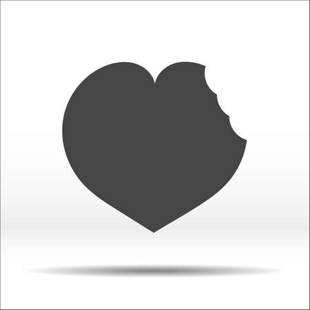 remnant: Grey heart with a bite mark on it. White-black vector illustration and icon. Illustration