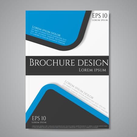 Vector flyer brochure design geometric template abstract. Blue black color.