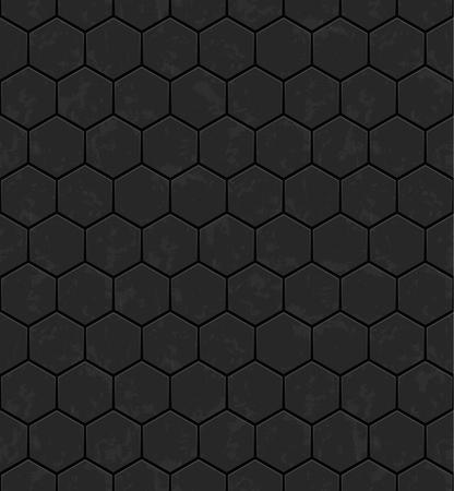 Grey hexagons of stone. Seamless vector texture. Technology seamless pattern.Vector geometric dark background.