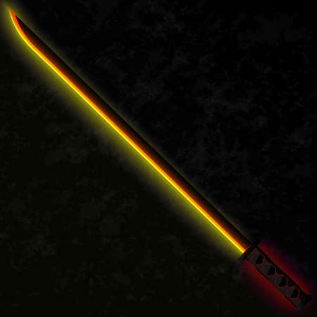 black stone: Katana with a fiery metallic blade and handle with neon lying on a black stone. Vector sword illustration. Game weapon object.