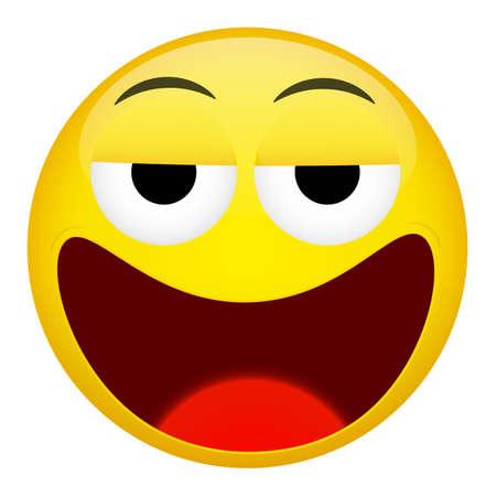 weary: Drunken, tired smile emotion. Emoji illustration.