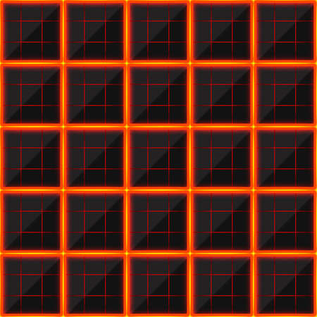 black stone: Squares of black stone with hot streaks of energy. Seamless texture. Technology seamless pattern. geometric dark background.