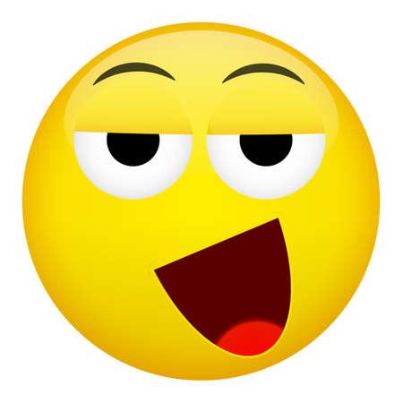 weary: Drunken, tired smile laugh emotion. Emoji illustration.