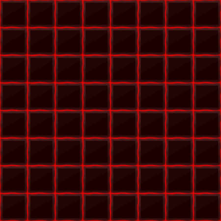 black stone: Squares of black stone with red streaks of energy. Seamless texture. Technology seamless pattern. geometric dark background. Illustration