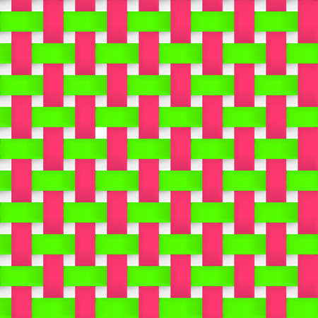 strip structure: Interlacing paper, fabric green and pink tapes with drop shadows and bending elements.  Seamless texture.