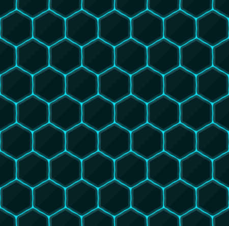 black stone: Hexagons of black stone with blue streaks of energy. Seamless texture. Technology seamless pattern. geometric dark background. Illustration