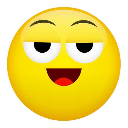 drunken: Drunken, tired smile laugh emotion. Emoji illustration.