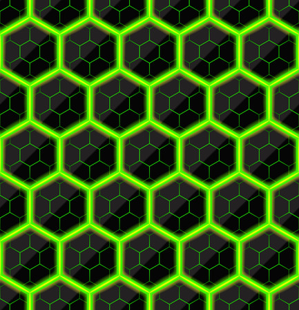black stone: Hexagons of black stone with green hot streaks of energy. Seamless texture. Technology seamless pattern. geometric background.