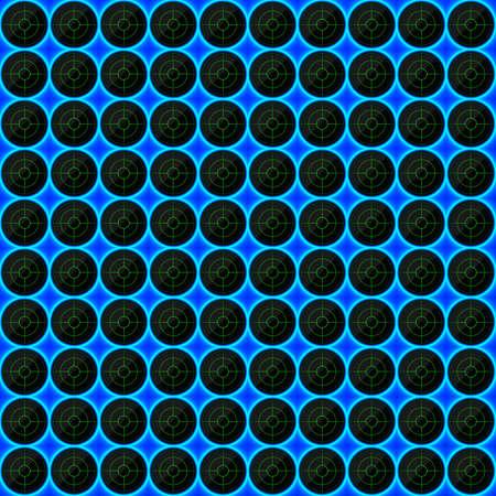 black stone: Circles of black stone with blue streaks of energy. Seamless vector texture. Technology seamless pattern. Vector geometric dark background.