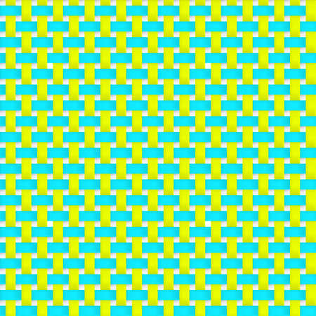 interlacing: Interlacing paper, fabric tapes with drop shadows and bending elements. Yellow and blue color. Seamless vector texture. Seamless pattern. Vector geometric background. Illustration