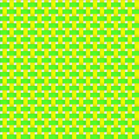 interlacing: Interlacing paper, fabric green and yellow tapes with drop shadows and bending elements.  Seamless vector texture. Seamless pattern. Vector geometric background.