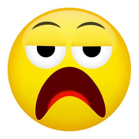 discontent: Discontent, drunken emotion. Emoji vector illustration. Illustration