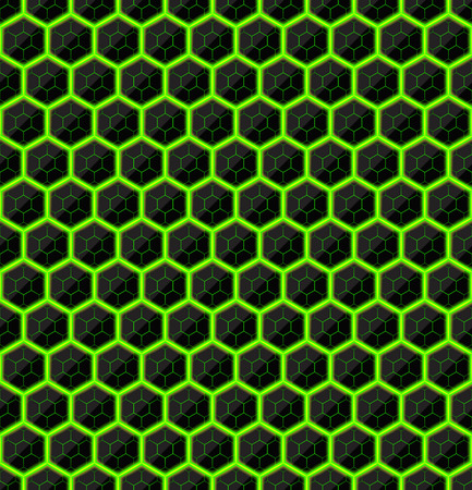 black stone: Hexagons of black stone with green streaks of energy. Seamless vector texture. Technology seamless pattern. Vector geometric dark background.