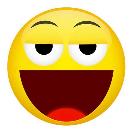 weary: Drunken, tired smile laugh emotion. Emoji vector illustration.