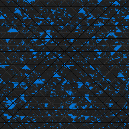 metal black: Black triangles of metal, stone with blue spots. Seamless vector grunge colorful texture. Technology seamless pattern. Vector geometric background.