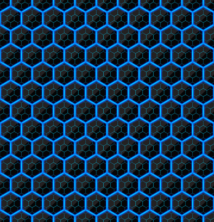 black stone: Hexagons of black stone with blue streaks of energy. Seamless vector texture. Technology seamless pattern. Vector geometric dark background.