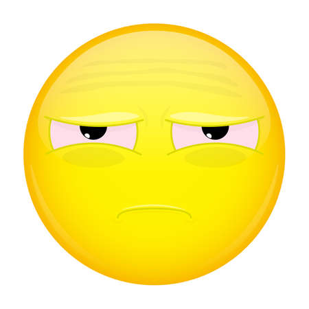 unfortunate: Tired emoji. Bad emotion. Unhappy emoticon. Vector illustration smile icon. Illustration