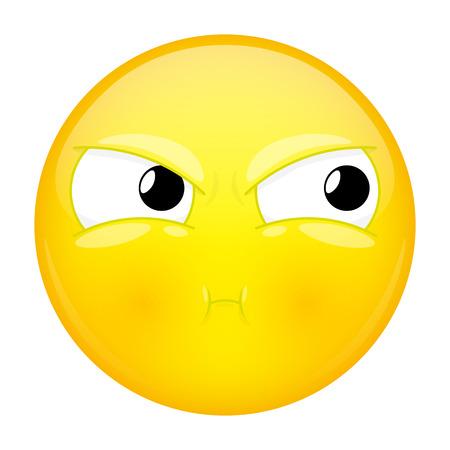 pout: Sulk emoji. Bad emotion. Pout emoticon. Vector illustration smile icon.