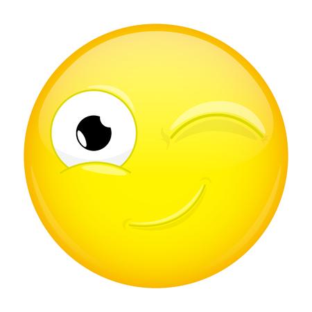 wink: Wink emoji. Good emotion. Twinkle emoticon. Vector illustration smile icon.