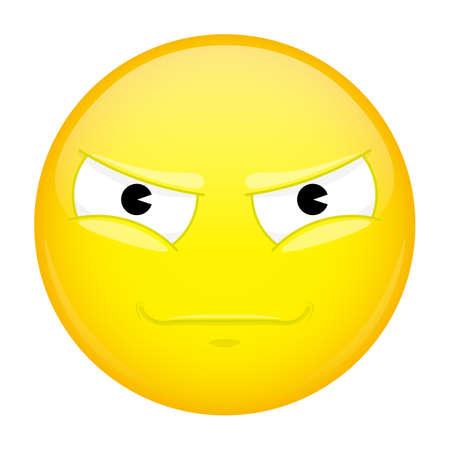 malice: Evil emoji. Bad emotion. Malice emoticon. Vector illustration smile icon.