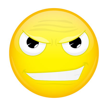 Evil emoji. Bad emotion. Wicked emoticon.  illustration smile icon.