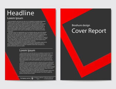 brochure design geometric template abstract. Black red color.