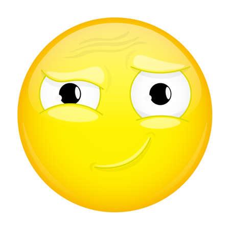 quandary: Hah emoji. Good emotion. Smirk emoticon. illustration smile icon. Illustration