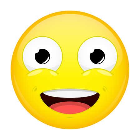 complacent: %u0421ute smiling emoji. Good emotion. Sweet happy emoticon. illustration smile icon.