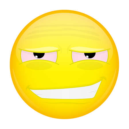 weary: Tired smiling emoji. Weary emotion. Tired grin emoticon. illustration smile icon. Illustration