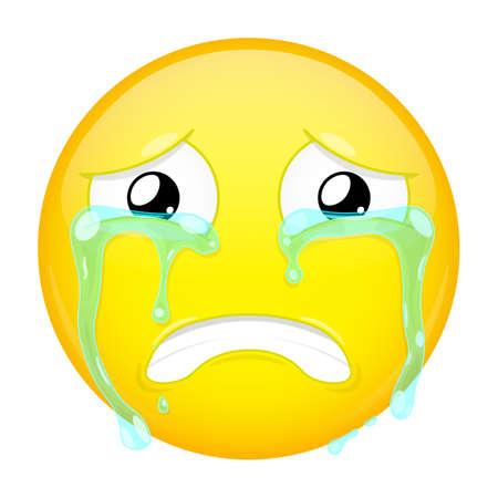 bellow: Sad crying emoji. Bad emotion. Weeping emoticon. Illustration