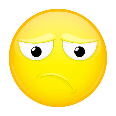 chagrin: Sad emoji. Bad emotion. Depression emoticon. Vector illustration smile icon. Illustration