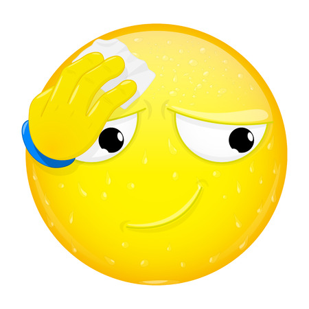 sweat: Emoji wipes the sweat with a handkerchief. Hard work, heat, phew emotion. Off the hook emoticon. Vector illustration smile icon.